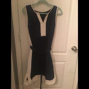 Ann Taylor Navy blue dress, white stripe